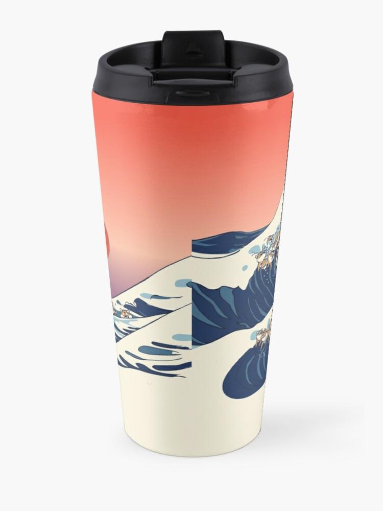Alternate view of The Great Wave of Shiba Inu Travel Mug