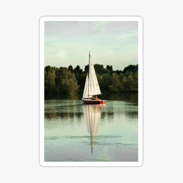 A beautiful sailing evening on the lake Sticker