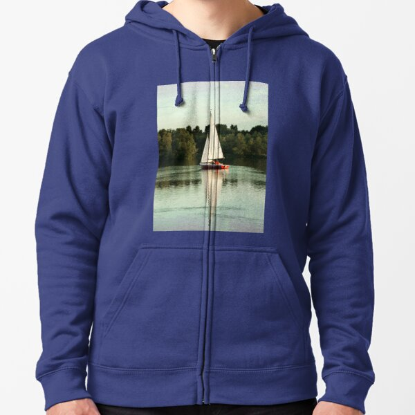 A beautiful sailing evening on the lake Zipped Hoodie