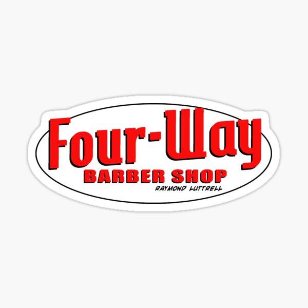 Four-Way Barber Shop Sticker