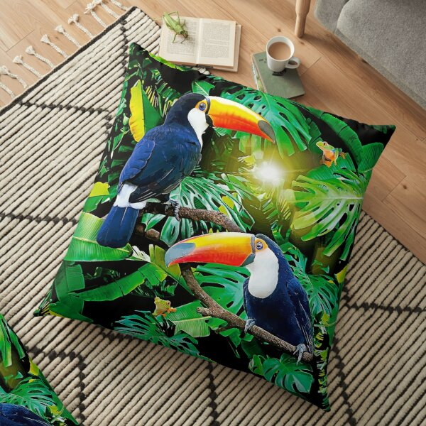 Toucans and Tree Frogs Floor Pillow