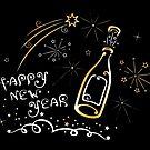 Silvester mit Feuerwerk und Champagner. von Christine Krahl