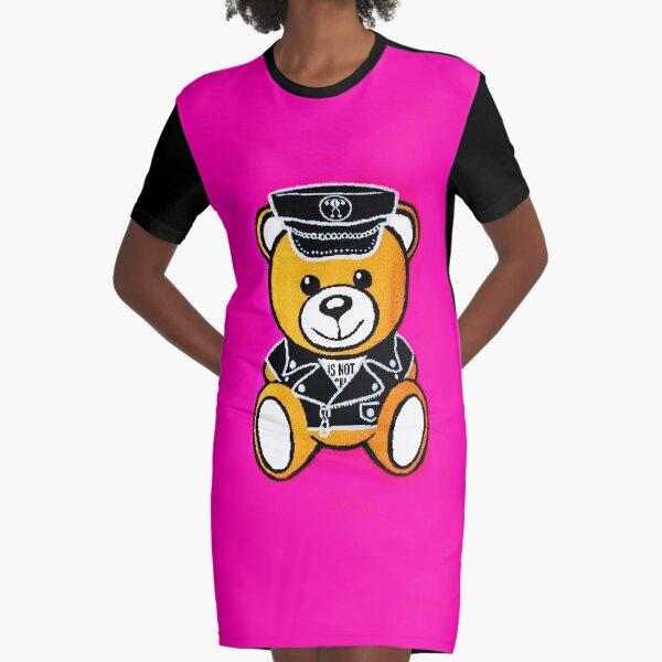 Pink Moschino Bear Graphic T-Shirt Dress