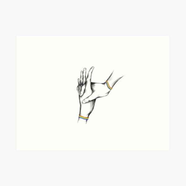 LGBT+ hands holding Art Print