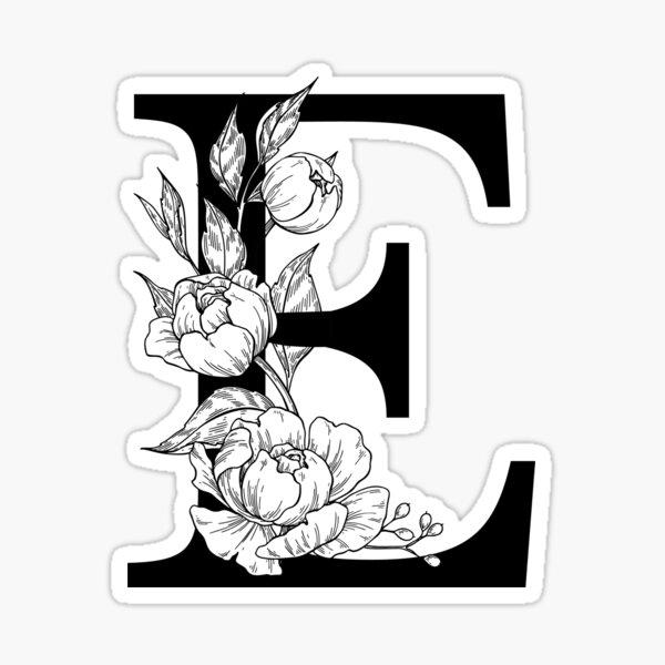 E Botanical Monogram. Detailed Peony Drawing Sticker
