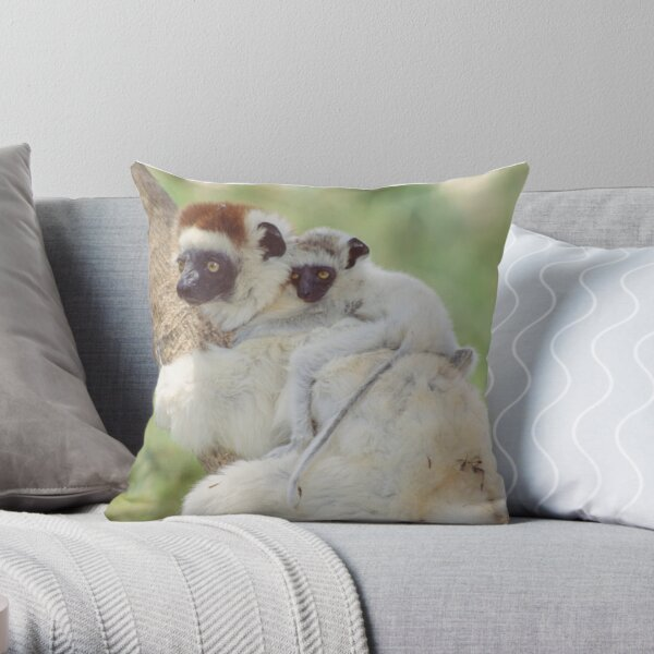 Beautiful baby sifaka Throw Pillow