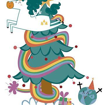 Postal de Navidad de Unicornio de CatalanART