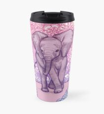 Cute Baby Elephant in pink, purple & blue Travel Mug