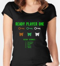 Ready Player One 8-Bit Game High Five Women's Fitted Scoop T-Shirt