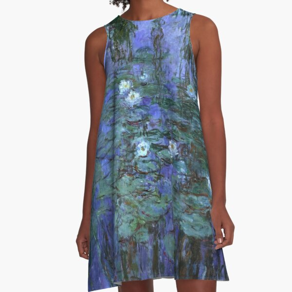 Blue Water Lilies, Claude Monet A-Line Dress
