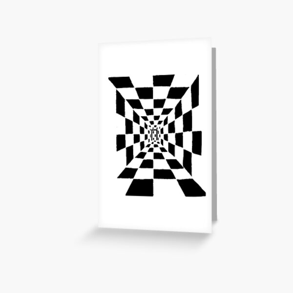Chessboard corridor, black Greeting Card