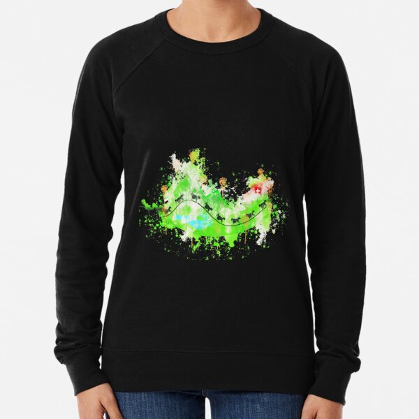 Hill cows mountain watercolor painted Lightweight Sweatshirt