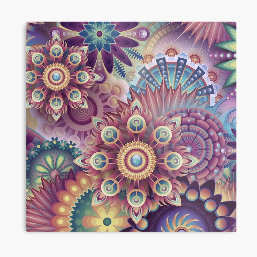 Psychedelic Kaleidoscope Abstract Wilderness Print Metal