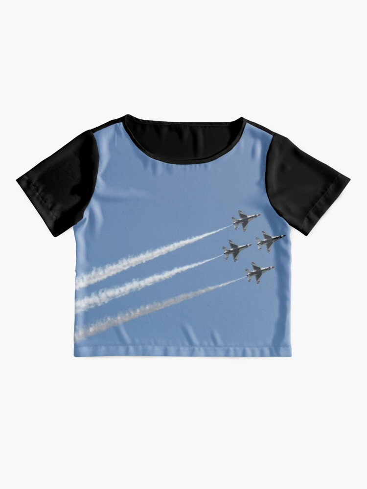 Alternate view of #Air #show #AirShow #airplane #military #fighter #speed #flying #aerobatics #airforce #sky #maneuver #wing #horizontal #blue #colorimage #airvehicle #aerospaceindustry #accuracy #efficiency #pattern Chiffon Top