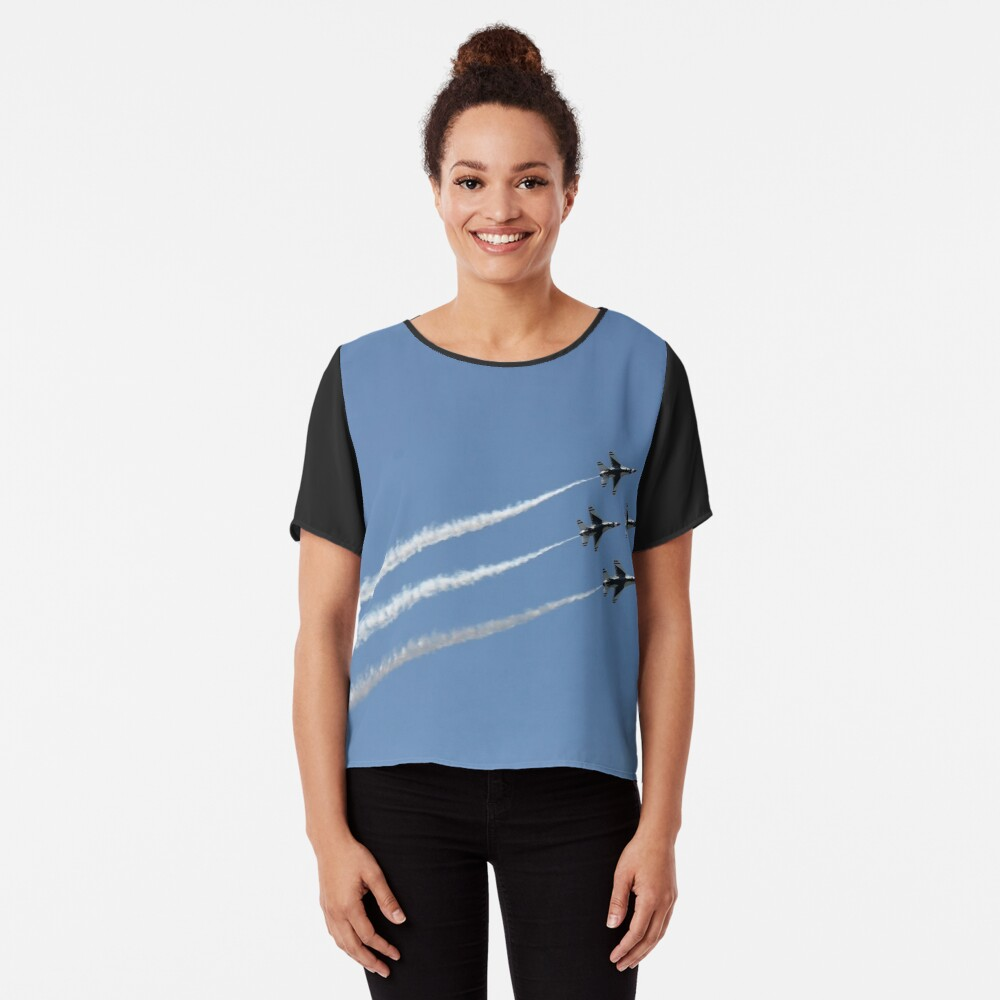 #Air #show #AirShow #airplane #military #fighter #speed #flying #aerobatics #airforce #sky #maneuver #wing #horizontal #blue #colorimage #airvehicle #aerospaceindustry #accuracy #efficiency #pattern Chiffon Top