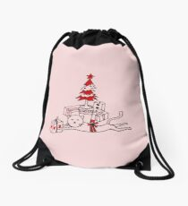 Cat love X-mas Drawstring Bag