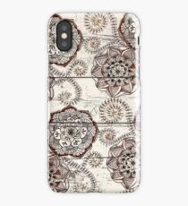 Coffee & Cocoa - brown & cream floral doodles on wood iPhone Case