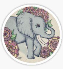 Little Elephant in soft vintage pastels Sticker