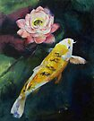 Koi and Lotus Flower by Michael Creese