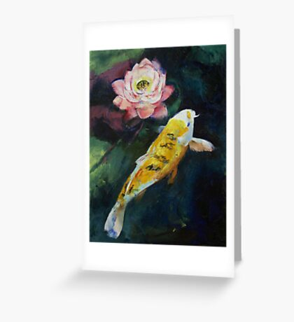 Koi and Lotus Flower Greeting Card