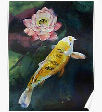 Koi and Lotus Flower Poster