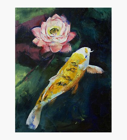 Koi and Lotus Flower Photographic Print