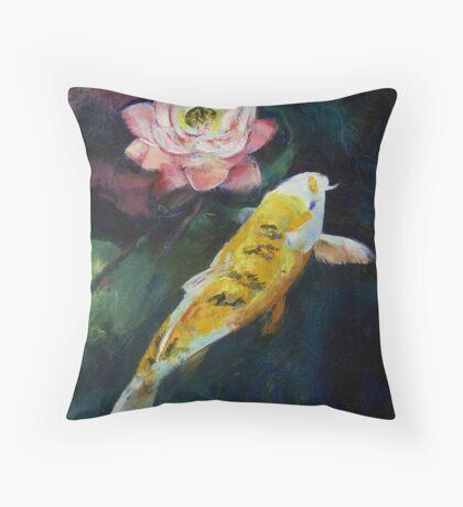 Koi and Lotus Flower Throw Pillow
