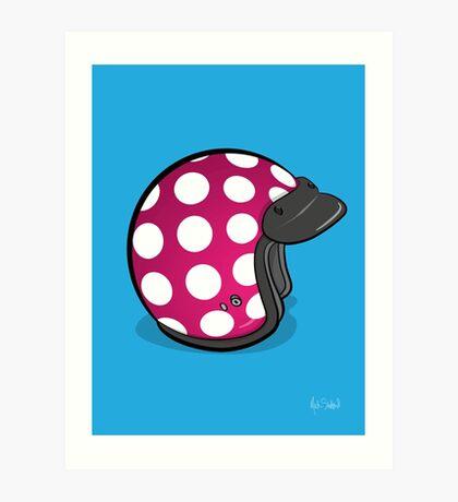 Retro Mod Crash Helmet - Polka Dot Art Print