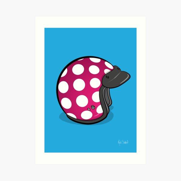 Retro Mod Crash Helmet - Polka Dot (Pink) Art Print