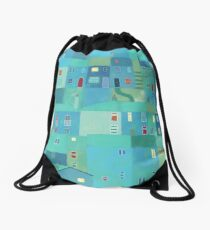 Blue town from the steps Drawstring Bag