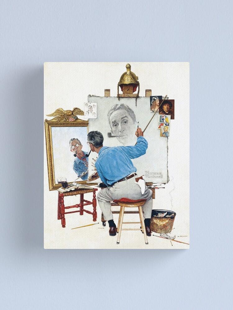 "Vtg Art Print Norman Rockwell Poster 12/"" x 15/"" Triple Self Portrait"