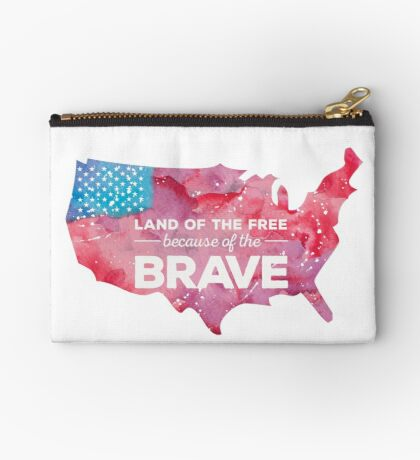 Land of the Free because of the Brave Watercolor Studio Pouch
