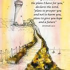 Lighthouse Watercolor Jeremiah 29:11 by Janis Lee Colon