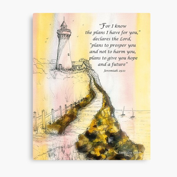 Lighthouse Watercolor Jeremiah 29:11 Metal Print
