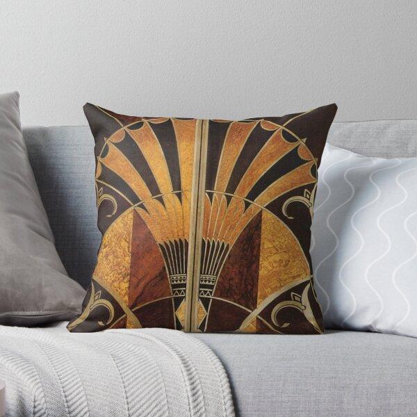 Art nouveau, art déco, vintage, élégant, chic, motif, or, bois, noir, bronze, argent, beige Coussin