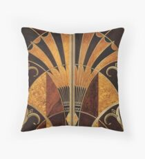Art nouveau, art deco, vintage,elegant,chic,pattern,gold,wood,black,bronze,silver,beige Throw Pillow