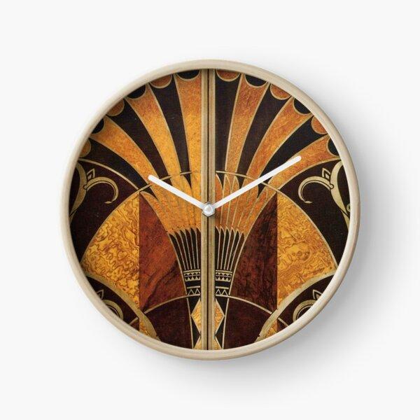 Art nouveau, art déco, vintage, élégant, chic, motif, or, bois, noir, bronze, argent, beige Horloge