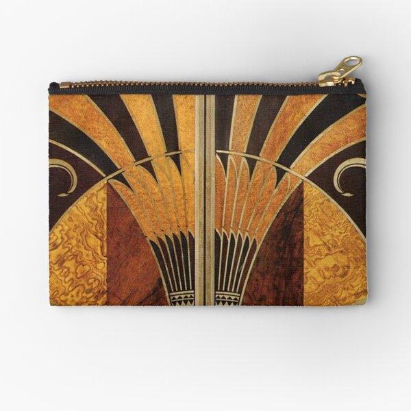 Art nouveau, art deco, vintage,elegant,chic,pattern,gold,wood,black,bronze,silver,beige Zipper Pouch