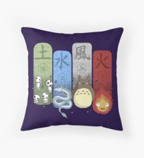 Ghibli Elemental Charms Throw Pillow