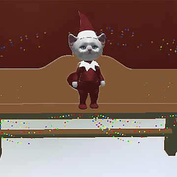 White Kitty as an elf on a shelf by ViviennePoet