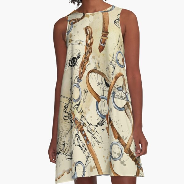 harness horse watercolor pattern. equestrian seamless background. horse racing vintage illustration A-Line Dress