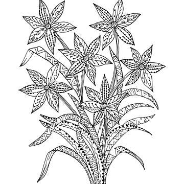 line doodle flowers by lisenok