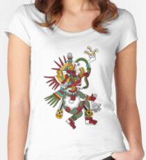 #Quetzalcoatl #featheredserpent #worship #Feathered Serpent Teotihuacan century Mesoamerican chronology veneration figure Mesoamerica Mexican religious center Cholula Maya area Kukulkan Fitted Scoop T-Shirt
