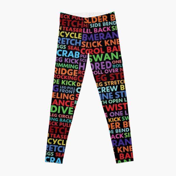 Pilates Contrology Word Art in Colour Leggings