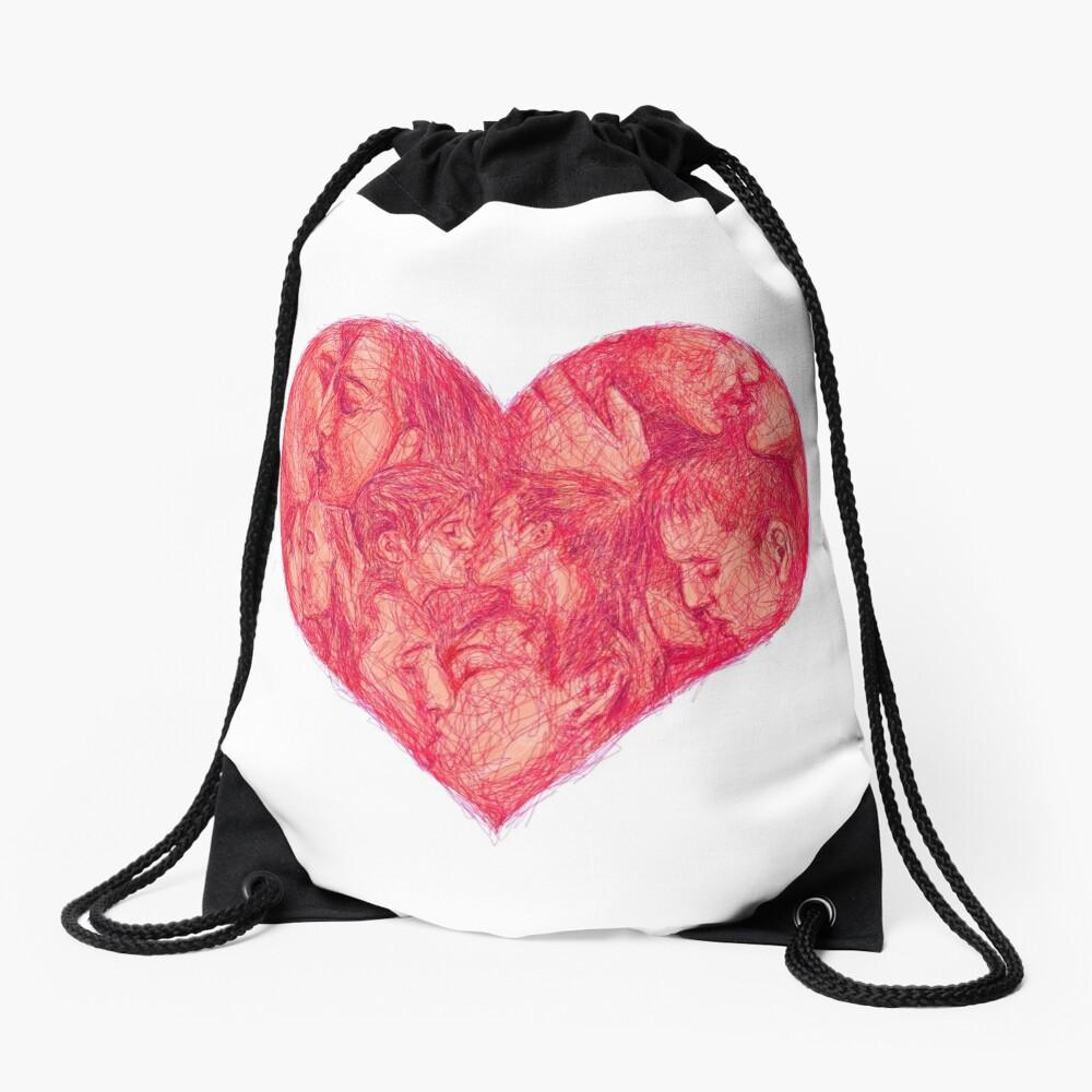 Kiss (White Background) Drawstring Bag