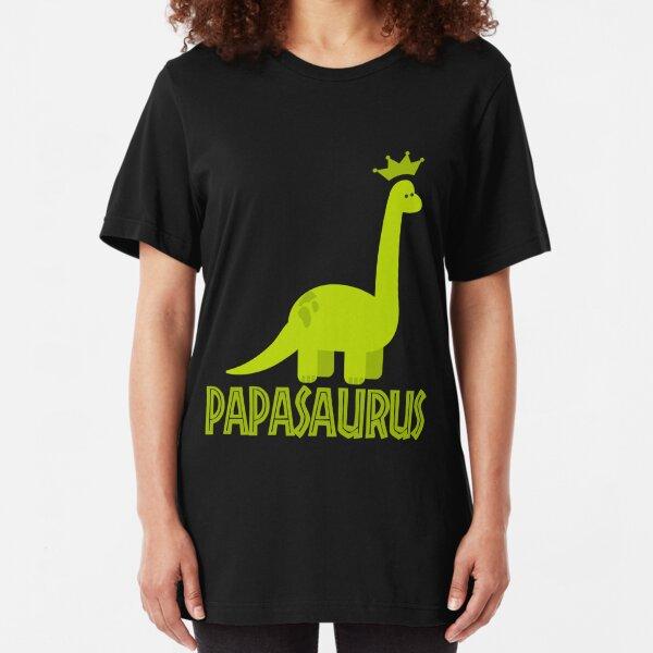 Papasaurus dino dinosaur gift Slim Fit T-Shirt