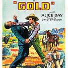 Vintage Hollywood Nostalgia Gold Film Movie Advertisement Poster by jnniepce