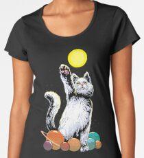 Space Cat Premium Rundhals-Shirt