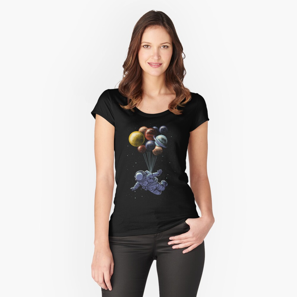 Space Travel Fitted Scoop T-Shirt