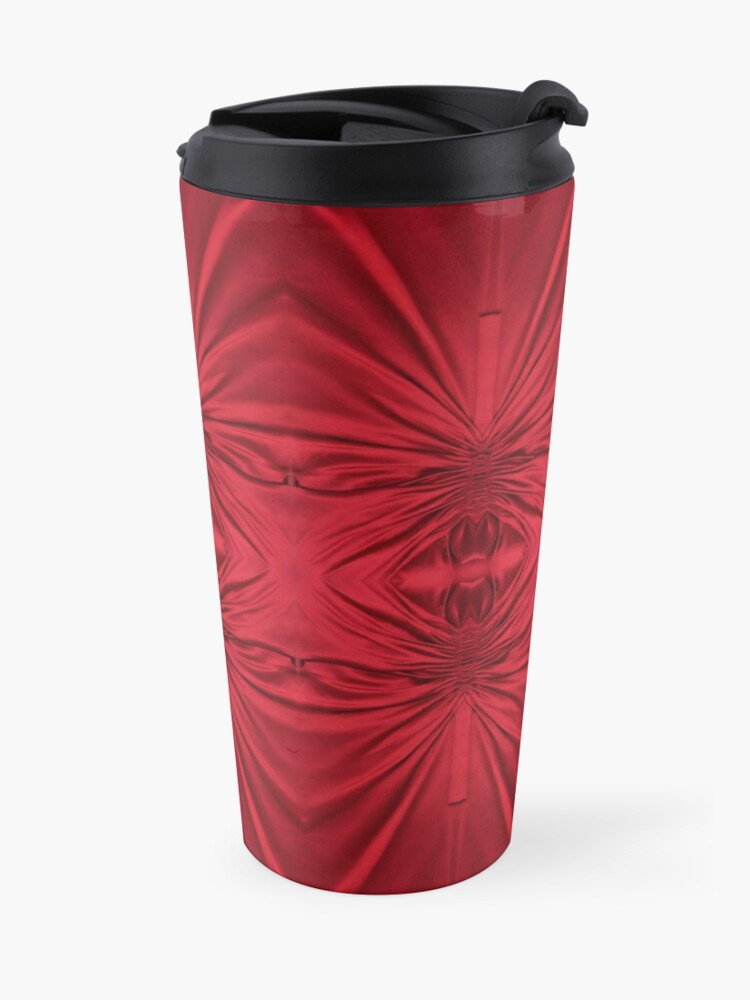 Alternate view of #red #maroon #symmetry #abstract #illustration #design #art #pattern #textile #decoration #vertical #backgrounds #textured #colors Travel Mug